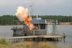 De ontploffing op het schip stock fotografie