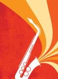 De Ontploffing Red_Orange van de Saxofoon van de jazz Stock Fotografie