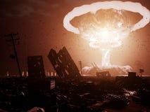 De ontploffing van de atoombom in woestijn royalty-vrije illustratie