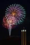 De ontploffing van het vuurwerk weg van ProefButte in Kromming, Oregon stock fotografie