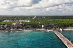De Ontsnapping van het Cruseschip NCL in Costa Maya stock foto's