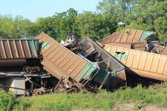 De ontsporing van de trein dichtbij Silverlake, Kansas royalty-vrije stock afbeeldingen