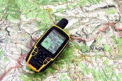 De ontvanger en de kaart van GPS Stock Foto's