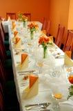 De ontvangst van het huwelijk in sinaasappel Stock Afbeelding