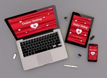 De ontvankelijke ontwerp online het dateren mening van het websitezenit royalty-vrije illustratie