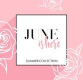 De ontwerpbanner met het van letters voorzien Juni is hier embleem Roze Kaart voor lentetijd met zwarte kader en wthite rozen Bev vector illustratie