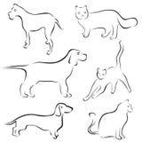 De ontwerpen van de hond en van de kat stock illustratie