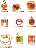 De ontwerpen van het malplaatje van embleem voor koffiewinkel en resta Royalty-vrije Stock Foto's