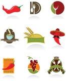 De ontwerpen van het malplaatje van emblemen voor koffiewinkel en rust Stock Foto's