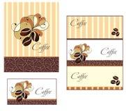 De ontwerpen van het malplaatje van menu en adreskaartje voor cof Royalty-vrije Stock Afbeelding