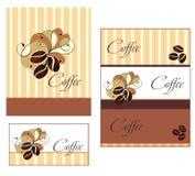 De ontwerpen van het malplaatje van menu en adreskaartje voor cof Stock Afbeelding
