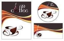 De ontwerpen van het malplaatje van menu en adreskaartje voor cof Stock Afbeeldingen