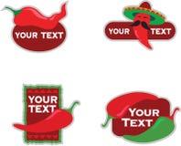 De ontwerpen van het malplaatje van pictogrammen voor Mexicaans voedsel Stock Foto's