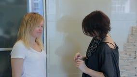 De ontwerper bespreekt met vrouw over stijldetails van modieuze kleding stock videobeelden