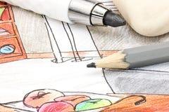 De ontwerpers die hulpmiddelen werken aan hand schilderden gekleurde schets van ruimte i stock fotografie