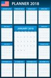 De Ontwerpersspatie van de V.S. voor 2018 Planner, agenda of agendamalplaatje Het begin van de week op Zondag Royalty-vrije Stock Foto's