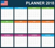 De Ontwerpersspatie van de V.S. voor 2018 Planner, agenda of agendamalplaatje Het begin van de week op Zondag Stock Fotografie