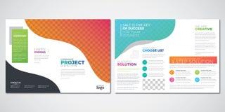 De ontwerpsjabloon van de brochurelay-out, kleurrijke bi-vouwenvector royalty-vrije illustratie