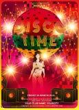De ontwerpsjabloon van de discopartij met maniermeisje royalty-vrije illustratie