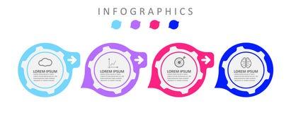 De ontwerpsjabloon van het Infographicetiket met pictogrammen De bedrijfsgegevensvisualisatie kan voor procesdiagram, presentatie royalty-vrije illustratie