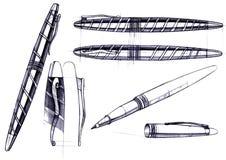 De ontwikkeling van de ontwerpschets van het ontwerp van een exclusieve pen en een ballpoint stock illustratie