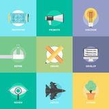De ontwikkelings vlakke pictogrammen van het ontwerpproduct stock illustratie