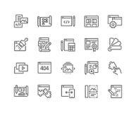 De Ontwikkelingspictogrammen van het lijnweb stock illustratie