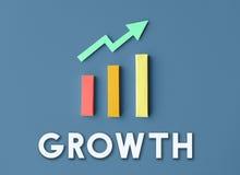 De Ontwikkelingsverbetering van de grafiekgroei het Concept van het Winstsucces Stock Foto's