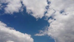 De ontzagwekkende tijdtijdspanne met pluizige witte cumulus betrekt met een de zomer donkerblauwe hemel stock footage