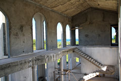 De onvolledige bouw binnen Stock Foto