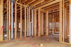 de onvolledige houten kaderbouw of een huis Royalty-vrije Stock Foto's