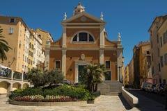 De Onze Dame van de Veronderstellingskathedraal, de stad van Ajaccio, Corsica royalty-vrije stock afbeeldingen
