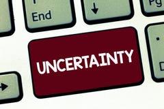 De Onzekerheid van de handschrifttekst Concept die Staat van het zijn betekenen onzekere twijfel moeilijk om een keus te maken stock afbeeldingen