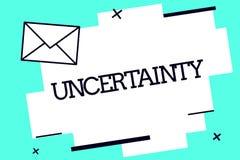De Onzekerheid van de handschrifttekst Concept die Staat van het zijn betekenen onzekere twijfel moeilijk om een keus te maken stock illustratie