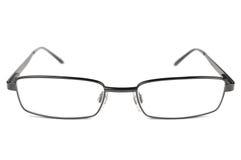De oogglazen, Zwarte Mensenbril, Titaniumkader, isoleerden Macroclose-up, Groot Gedetailleerd Studioschot Stock Afbeeldingen