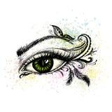 De ooghand met krabbel wordt getrokken die maakt omhoog stock illustratie