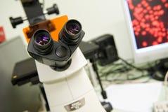 De ooglens van de microscoop Stock Foto's