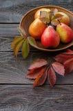De oogst van de herfst van peren donkere achtergrond van houten raad Royalty-vrije Stock Foto