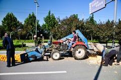 De oogst van het graan in China Stock Afbeeldingen