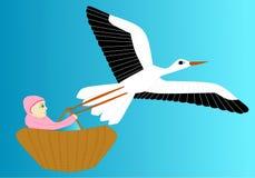 De ooievaar draagt pasgeboren royalty-vrije illustratie