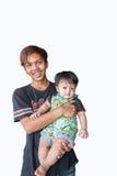 De oom met neef op witte achtergrond stock afbeelding