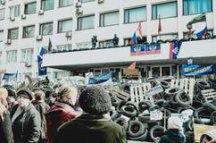 De oorlog de Oekraïne Mariupol 9 kan stock fotografie