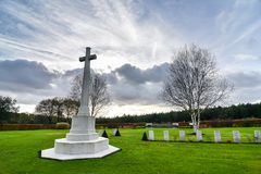 De Oorlogsbegraafplaats van de Cannockjacht stock afbeeldingen
