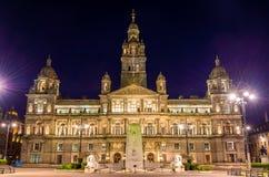 De Oorlogsgedenkteken van Glasgow City Chambers en van de Cenotaaf Stock Afbeeldingen