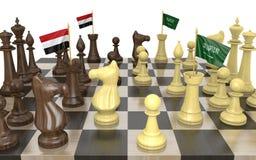 De oorlogsstrategie van Yemen en van Saudi-Arabië en machtsstrijd, het 3D teruggeven royalty-vrije illustratie