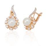 De oorring van juwelen met parel en diamanten royalty-vrije stock foto's