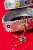 De oorringen die van het koper van juweeldoos hangen Royalty-vrije Stock Foto's