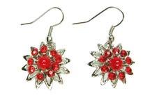 De oorringen van juwelen met btightkristallen Stock Foto