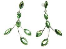 De oorringen van juwelen met btightkristallen Stock Afbeeldingen