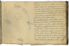 De oorspronkelijke pagina van het astronomienotitieboekje Royalty-vrije Stock Foto